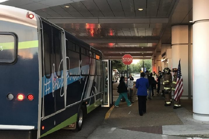 Shuttle stop and firefighters