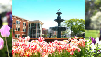 collage of spring images of the Summerville Campus: flowers, the fountain, etc.