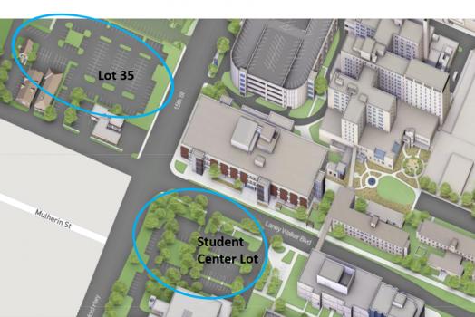 aerial diagram of university lots
