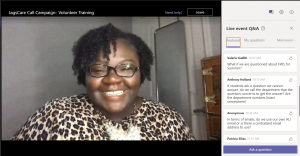 Screenshot of Microsoft Teams meeting, featuring Dr. Patrice Jackson smiling