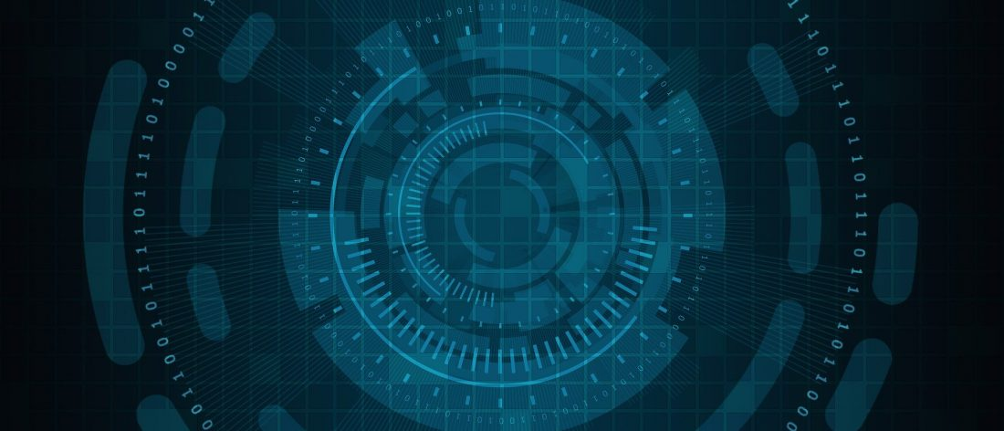 general cyber image on blue background