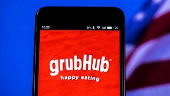 Smart phone with Grubhub app on screen