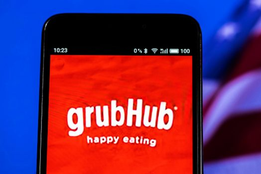 Smart phone with Grubhub app on screen
