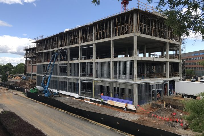 side view of 4-story building under construction