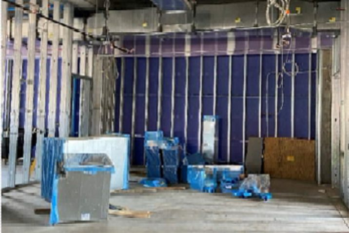 blue materials on steel wall framing
