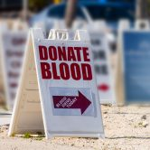 Blood donation sign