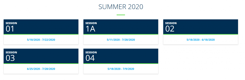 Screenshot of Registrar's website, showing the 5 semesters of Summer 2020