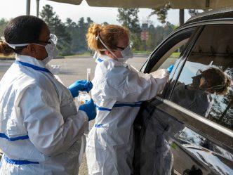 Women administering test