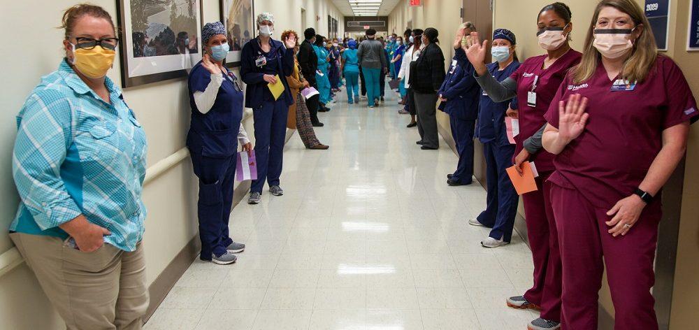 hospital employee line hallway