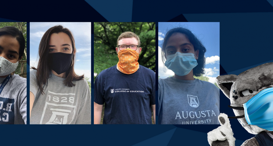 image of 4 students wearing face masks