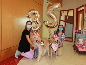women with dogs and balloons with numbers 3 and 5
