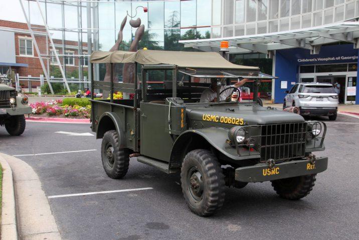 two military trucks