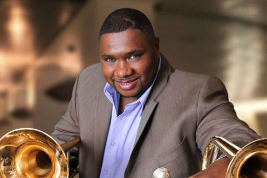 Musician with trombones
