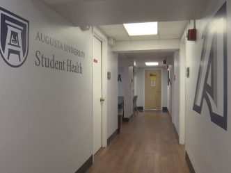 A hallway in Augusta University Student Health