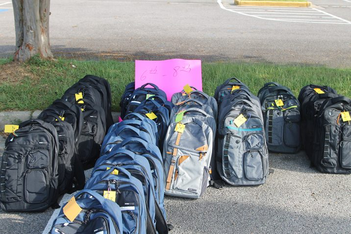 rows of backpacks