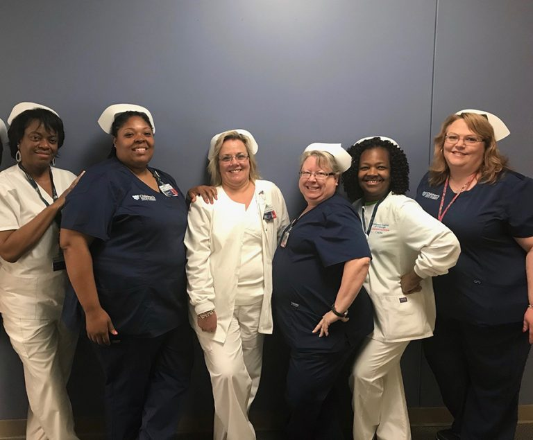 Six nurses pose for a photo