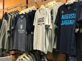 university t-shirts on hangers