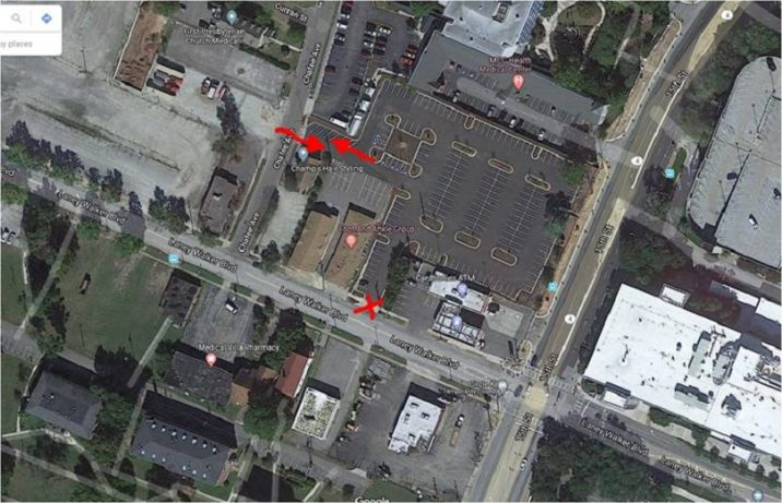 Aerial photo of parking lot