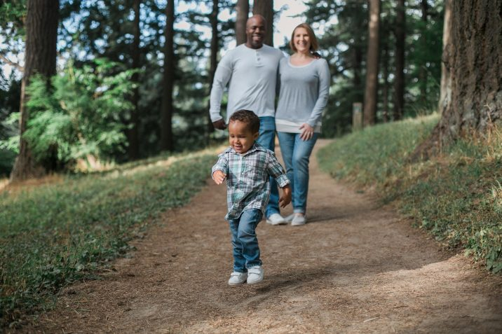 Mother, father, child on walking trial