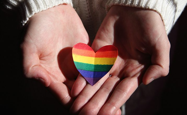 Hand with rainbow heart
