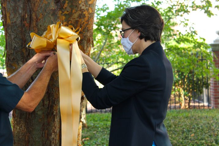 woman hangs ribbon on tree
