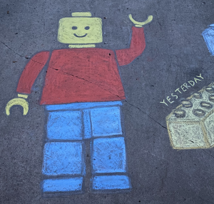 Chalk drawing of a LEGO man