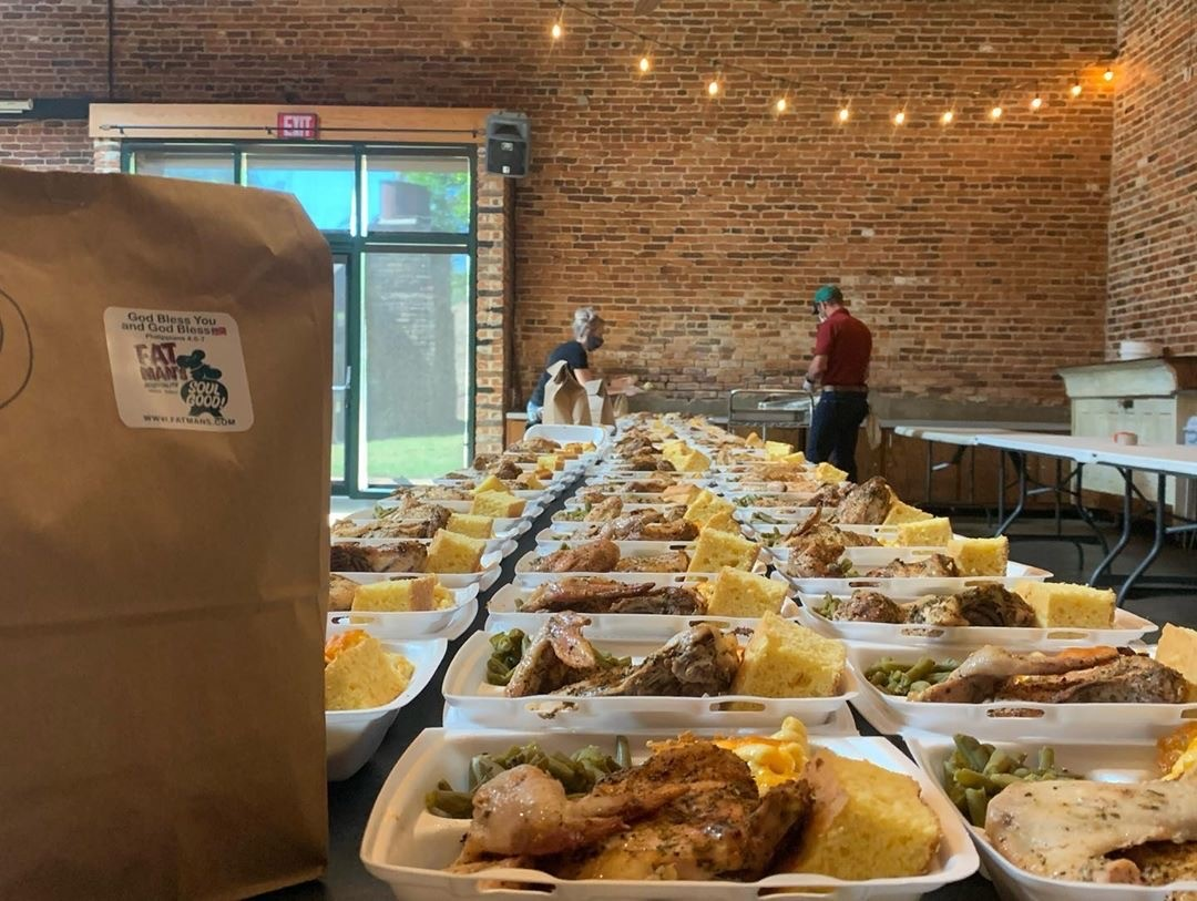 dozens of trays of food