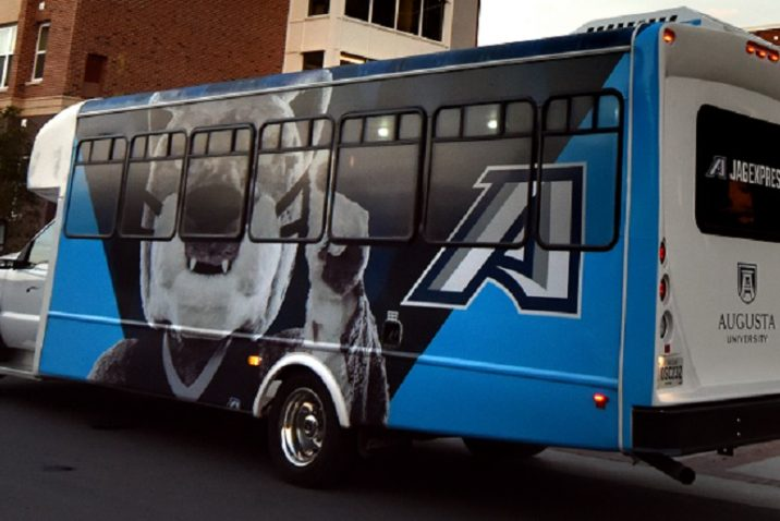 shuttle with mascot painted on side