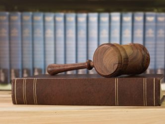 a gavel and a law book