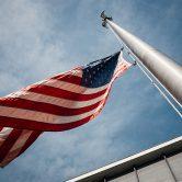 U.S. Flag flying on pole