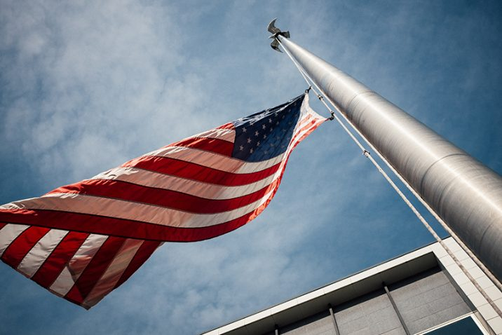 U.S. Flag flying on pole