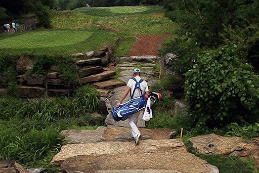 painting of golfer walking