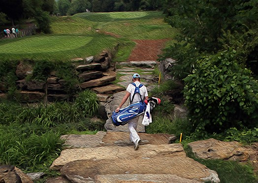 painting of golfer walking