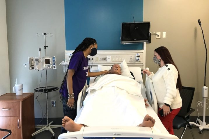 Students in the simulation center