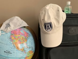 globe, mask, hat, suitcase