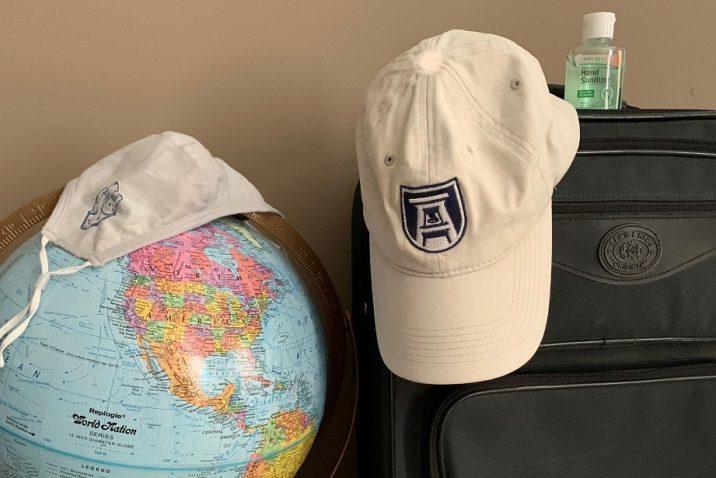 globe, mask, hat, suitcase