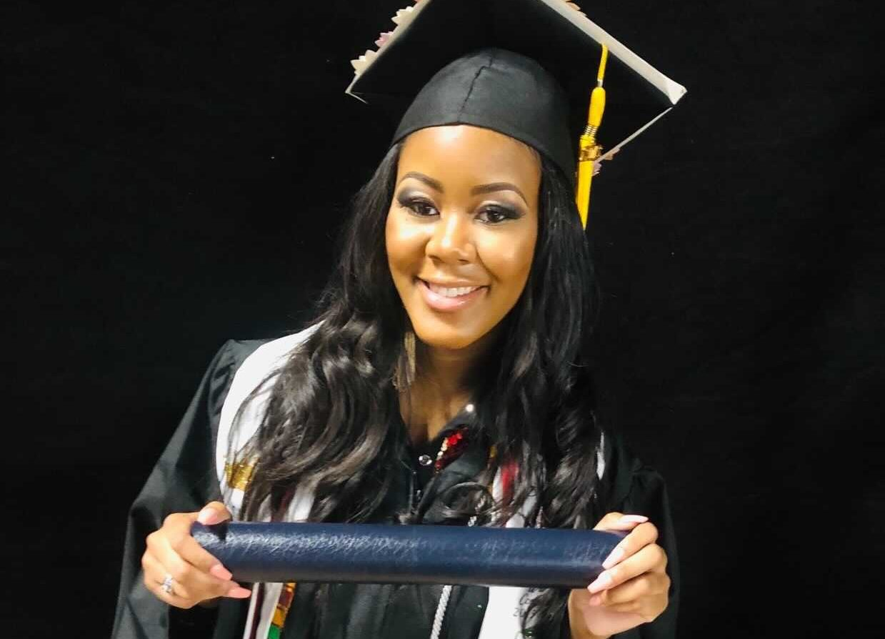 woman in cap and gown