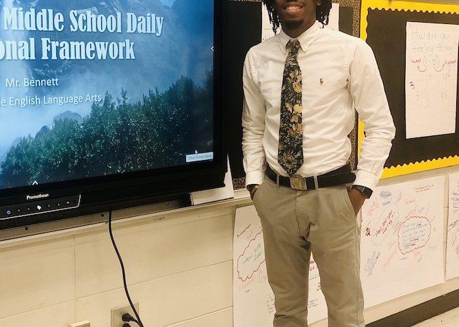 Man standing in classroom