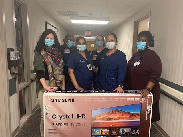 nurses with TV box