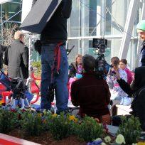 movie crew outside hospital
