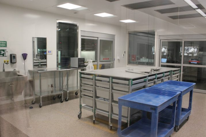 empty room with lab equipment