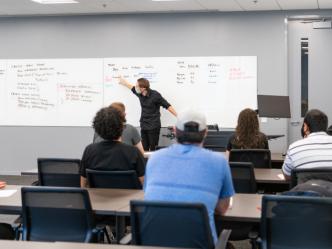 Professor in classroom