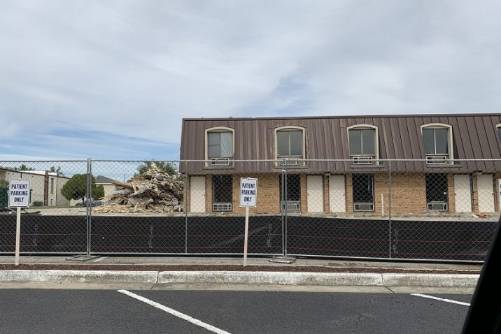 building partially torn down