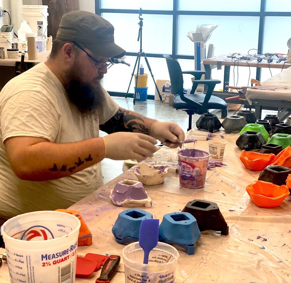 Student making masks