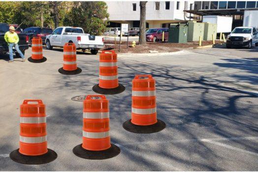 orange and white construction barrels