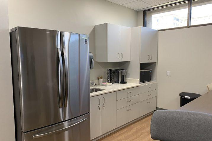 refrigerator and kitchenette