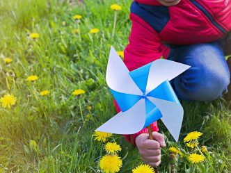 Child with pinwheel