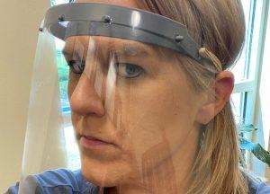 Woman in face shield