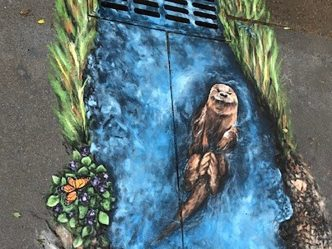Art mural of otter
