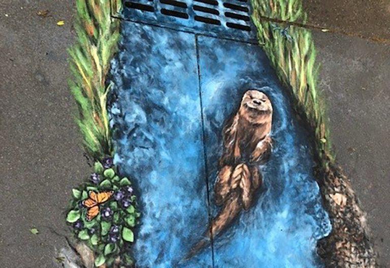 Art mural of otter
